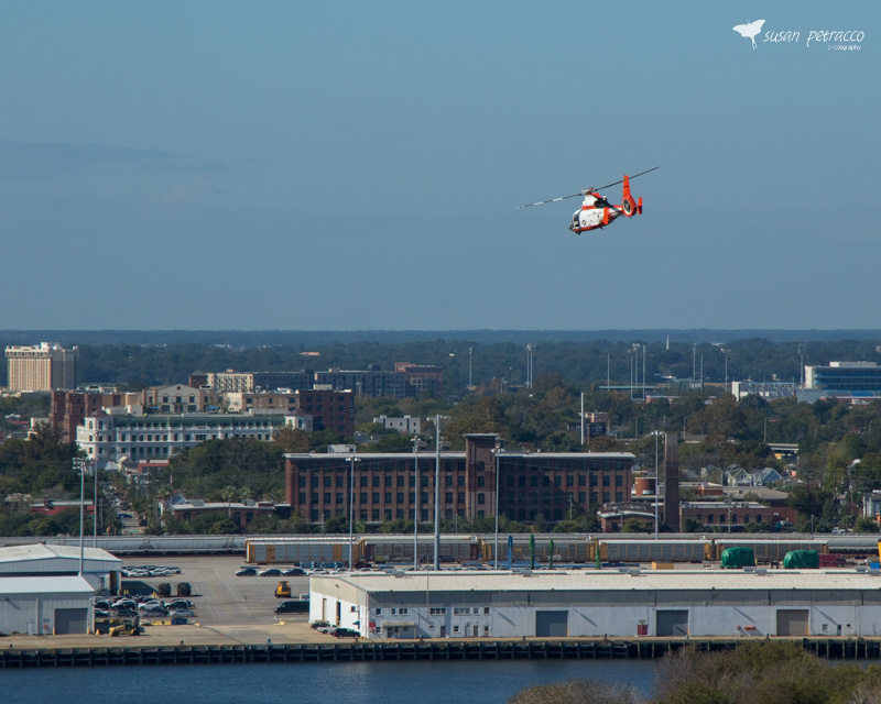 View of Charleston as a helicopter flew by, taken from the Ravenel Bridge