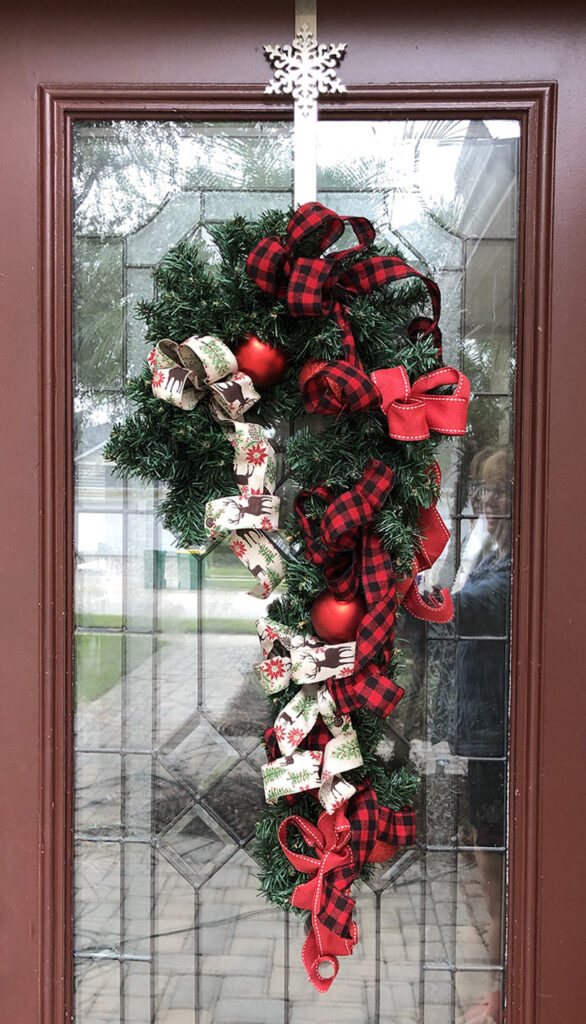 buffalo plaid wreath on my front door