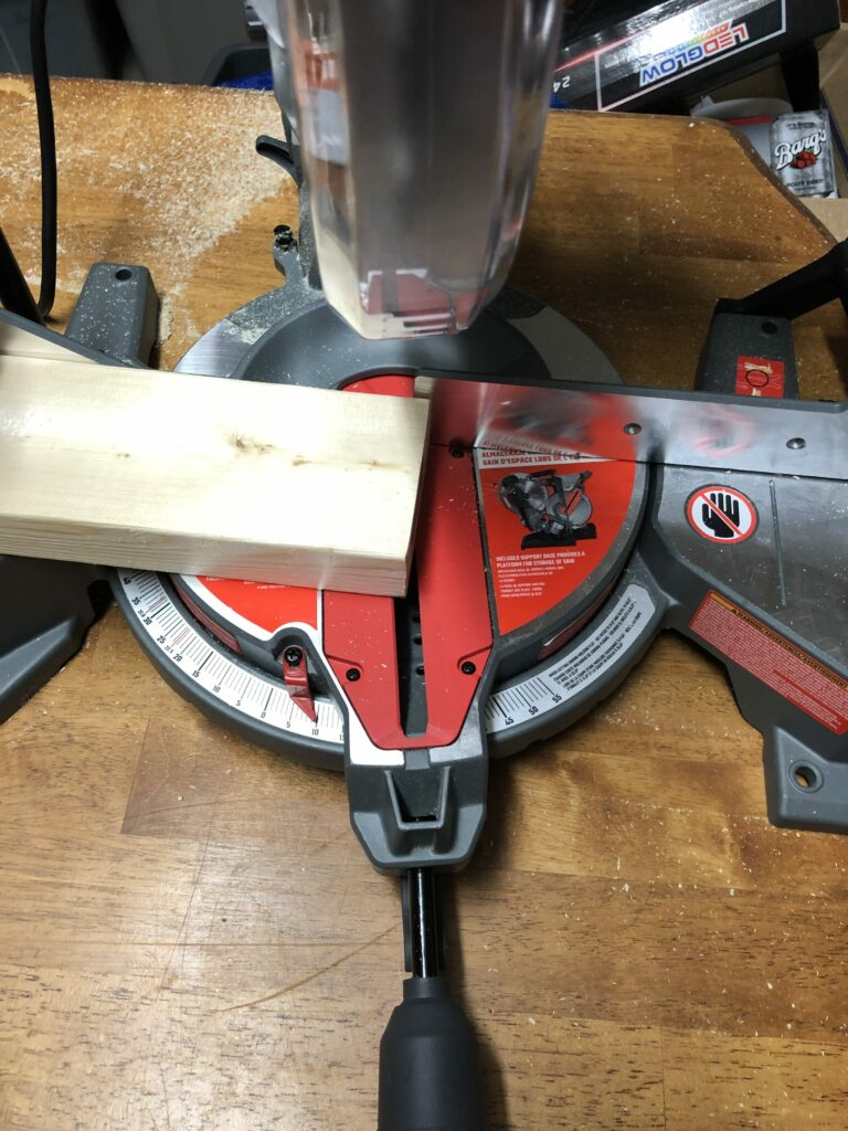 Miter saw cutting the 10-degree edge