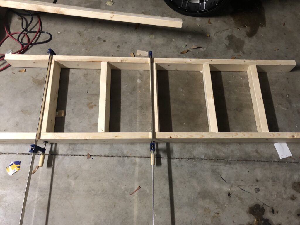 blanket ladder glued and clamped