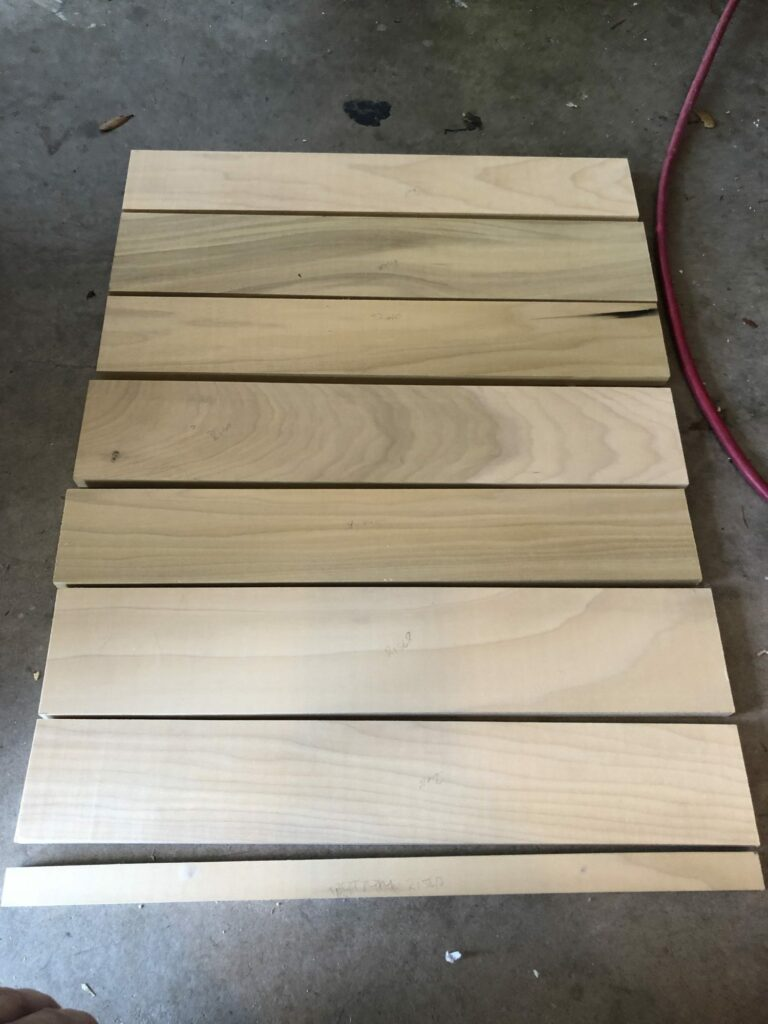 All of the poplar boards cut and ready for assembly