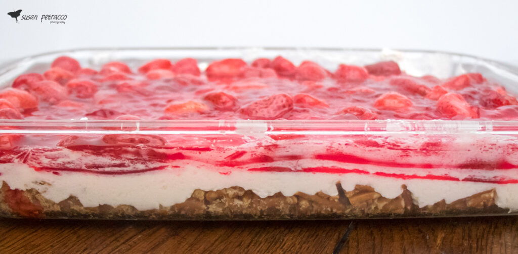 Layered strawberry pretzel salad - just look at those delicious layers!