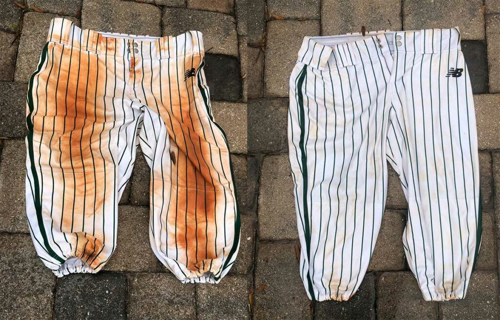 Baseball pants, before and after pressure washing