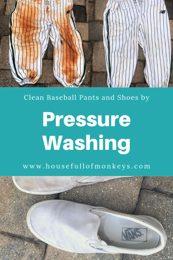 Pressure washing baseball pants and vans canvas shoes